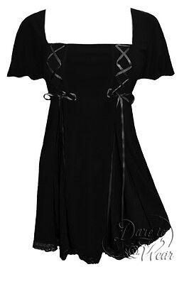 Plus Size Short Sleeve Gemini Princess Black Gothic Corset Top 1X 2X 3X 4X 5X