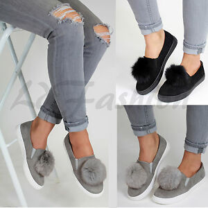 Womens Flat Heels Slip On No Shoe Lace