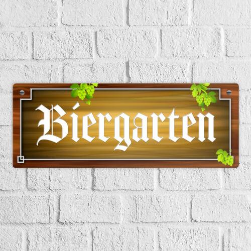 Biergarten Metallschild Holz und Hopfen Bier Schild Blechschild Garten Natur