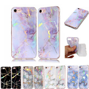 Colorful-Bling-Plating-Marble-Soft-Silicone-Case-Cover-For-iPhone-5S-6-7-8Plus-X
