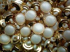 20mm.Set 6 pcs Vintage Buttons White /& Gold Color Flowers Prints Circle #G114