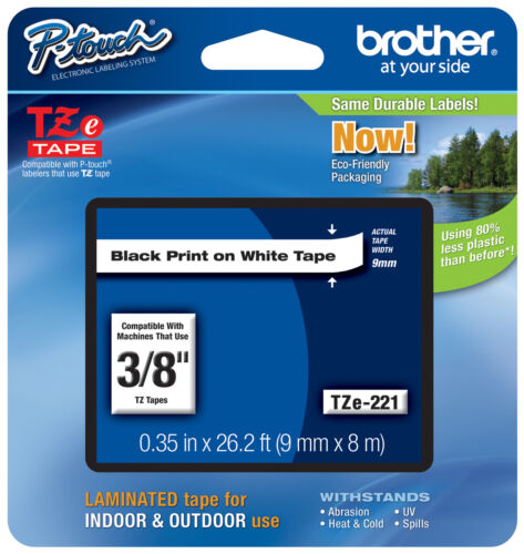 """Authorized Dealer GENUINE Brother 3//8/"""" BLACK ON WHITE Label Tape Fits PT-H110"""