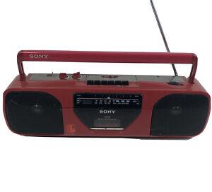 Vtg Sony CFS-E22 Boombox AM/FM Stereo Radio - Cassette Not Working Red Japanese