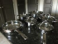 Induction Cookware Set Stainless Steel Cooking Pan And Pots Nuwave Cooktop Ready