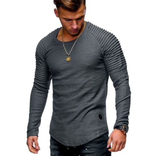 Men/'s Slim Fit O Neck Long Sleeve Muscle Tee Shirts Casual T-shirt Blouse Lot