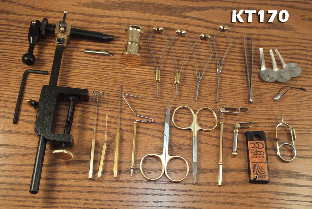 21 Peice Fly Tying Tool Kit  w redating  Vise - KT170