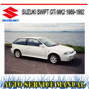 suzuki swift gti mk2 1989 1992 service repair manual dvd ebay rh ebay com au 1992 Suzuki Sidekick 4 Door 1993 Suzuki Swift