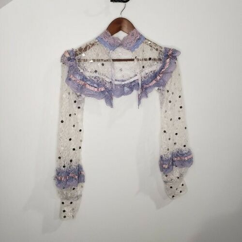Handmade Lace Cover Fairycore White and Lilac Siz… - image 1
