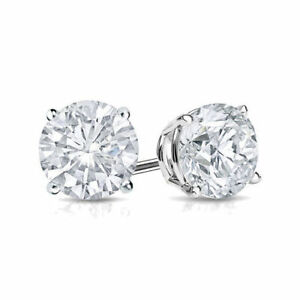 Image Is Loading 2ct Diamond Stud Earring Womens Studs 14k White