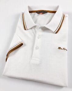Ben-Sherman-Polo-Shirt-Men-039-s-Classic-Fit-White-Three-Button-Placket-0060635