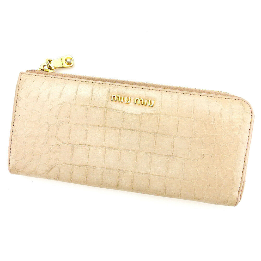 miumiu Wallet Purse Long Wallet Pink Gold Woman Authentic Used L1794