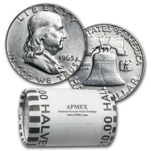 90% Silver Franklin Halves $10 20-Coin Roll AU - SKU #26361