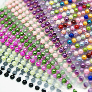 Pearl-Stickers-Self-Adhesive-Strip-Acrylic-Half-Round-Flat-Back-4mm-Card-Craft