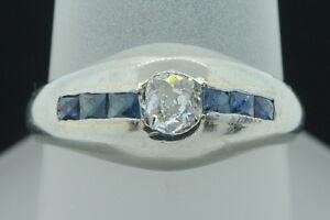 Antique-ca-1920-14K-White-Gold-European-Cut-Diamond-amp-Sapphire-Ring-6-1-2