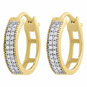 Image Is Loading 10k Yellow Gold Genuine Diamond Mj Hoops Huggie