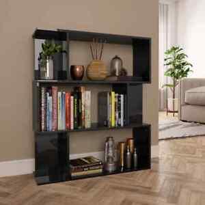 vidaXL-Book-Cabinet-Room-Divider-High-Gloss-Black-Chipboard-Standing-Shelves