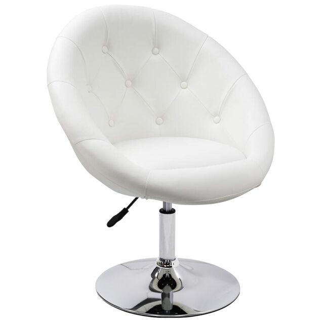 Vanity Chair Swivel Seat Modern Round Back On Tufted Vinyl