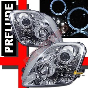 Details About Dual Halo LED Projector Headlights Chrome For 97 98 99 00 01 Honda Prelude