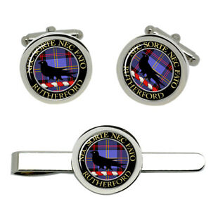 Rutherford-Scottish-Clan-Cufflinks-and-Tie-Clip-Set