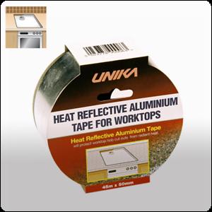 Unika Heat Reflective Aluminium Foil Tape Self Adhesive Worktop Protect 45mx50mm