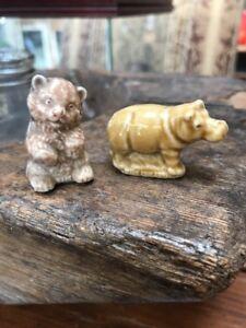 2-Vintage-WADE-Mini-ANIMAL-FIGURINES-England-Hippo-amp-Bear-1-5