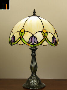 EOFY-Sale-Tiffany-Floral-Stained-Glass-Bedside-Table-Lamp-Art-Deco-Leadlight