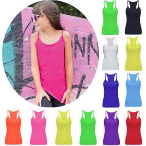 6bd0a5f9e8b5 Kids Girls Vest Fancy Dress Dance Tops Tank Perfect Fit Party Wear ...