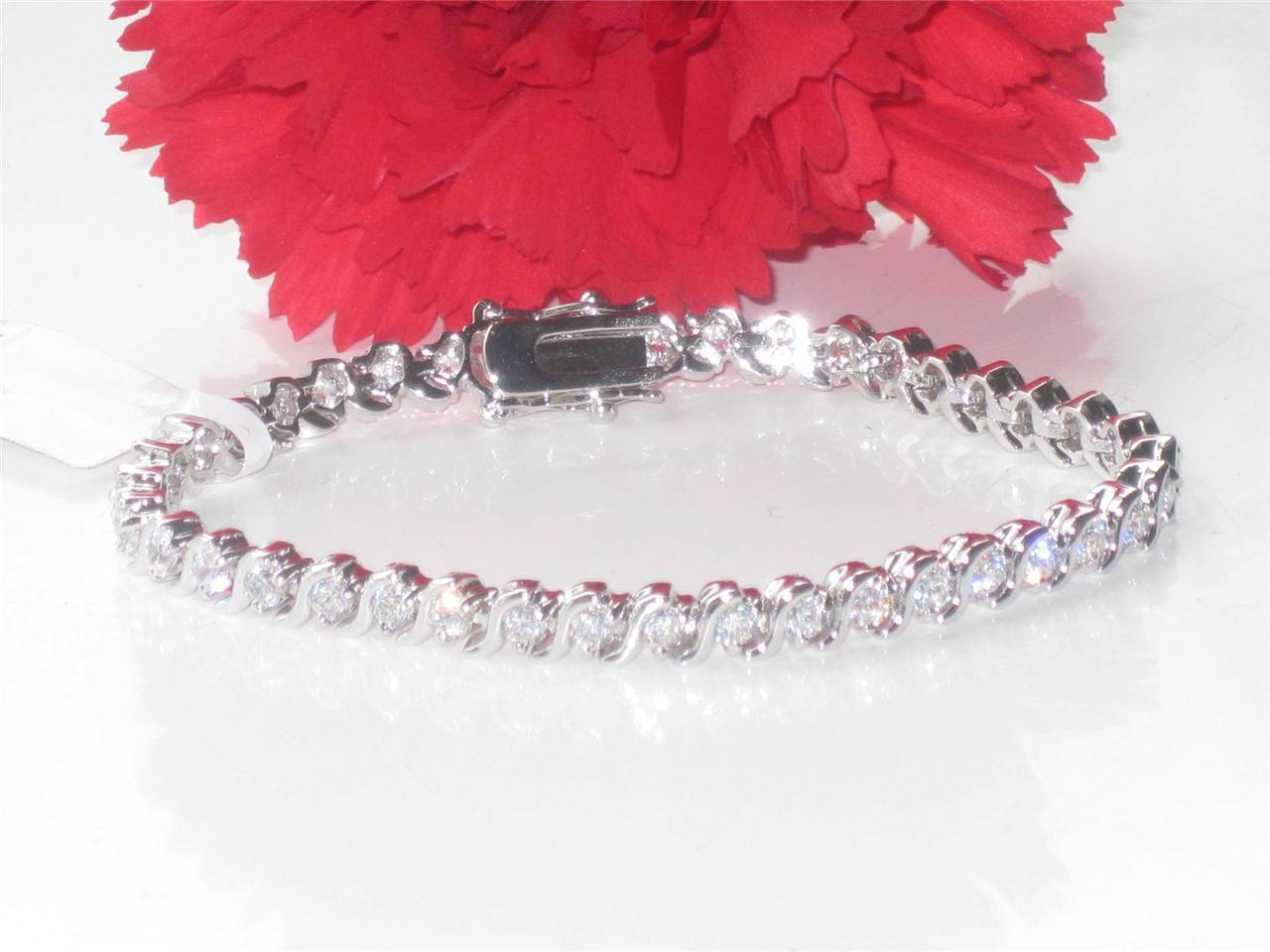 614 WOMENS WHITE 9CT S BAR TENNIS BRACELET SIMULATED DIAMONDS CLASSIC REALISTIC