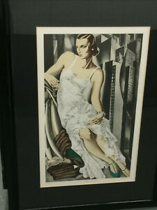"DeLempicka ""Lady in Lace"" (Mrs Alan Bott) ltd ed lithograph in custom deco frame"