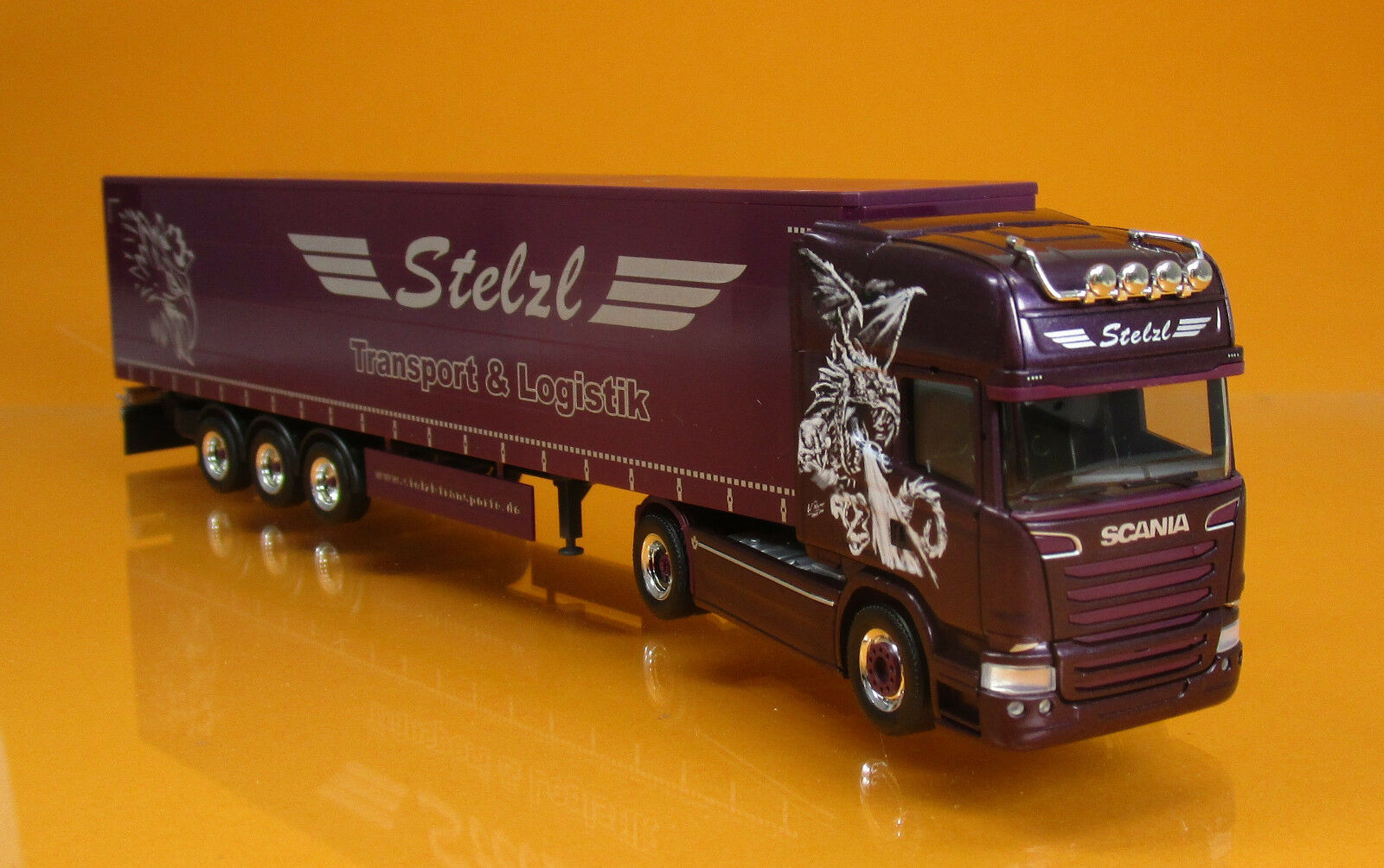 Herpa 307987 Scania R TL rideaux planifier semi-remorque camion Stelzl Scale 1 87 Nouveau neuf dans sa boîte