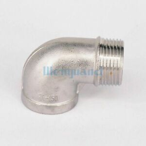 """1//2/"""" BSP Female to Male 304 SS Steel 90 Degree Elbow Connector Pipe Fitting"""