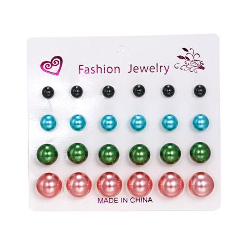 12Pairs//Set Women Crystal Pearl Earrings Ear Stud Elegant Wedding Jewelry Gifts