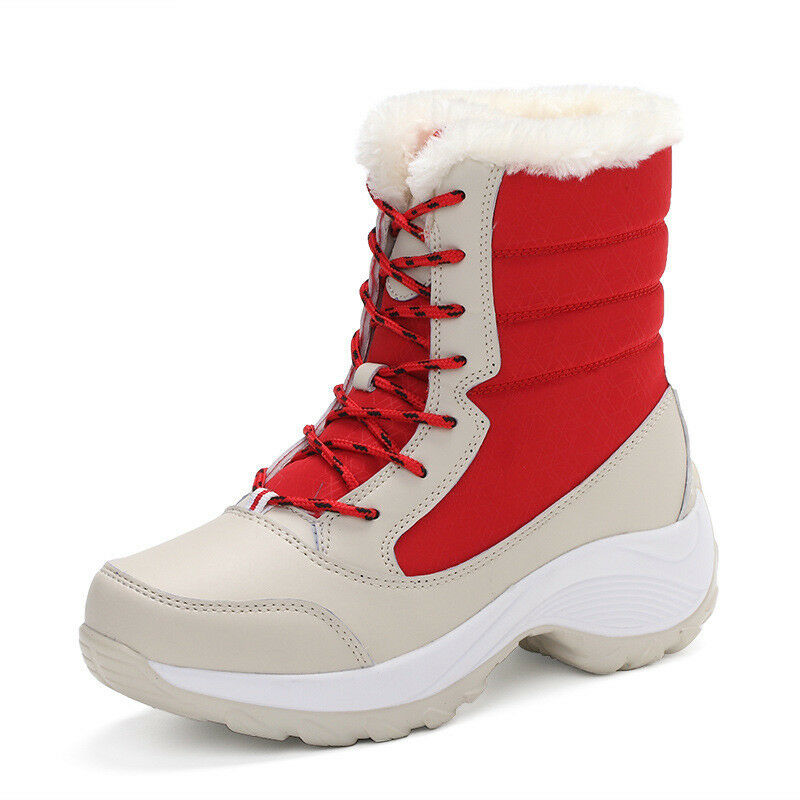 Women's Winter Warm Snow Boots Lady Platform Fur Lined Lined Lined Waterproof Lace Up shoes b16bb3