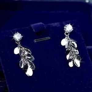 18k-white-gold-gp-made-with-SWAROVSKI-crystal-stud-earrings-tassel-tinsel-dangle