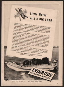 1944-WWII-EVINRUDE-Outboard-Motor-Boat-Engine-AD-Rafting-US-Navy-Bomb