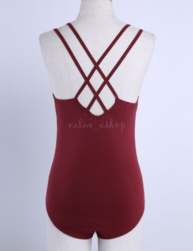 Ladies Womens Adult Cotton Straps Ballet Leotard Dance Bodysuit Gymnastics Dress