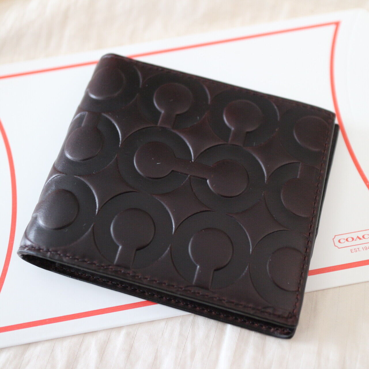 NWT COACH Men Embossed OP Signature Dk Brown Leather Double Bi-Folded Wallet NEW