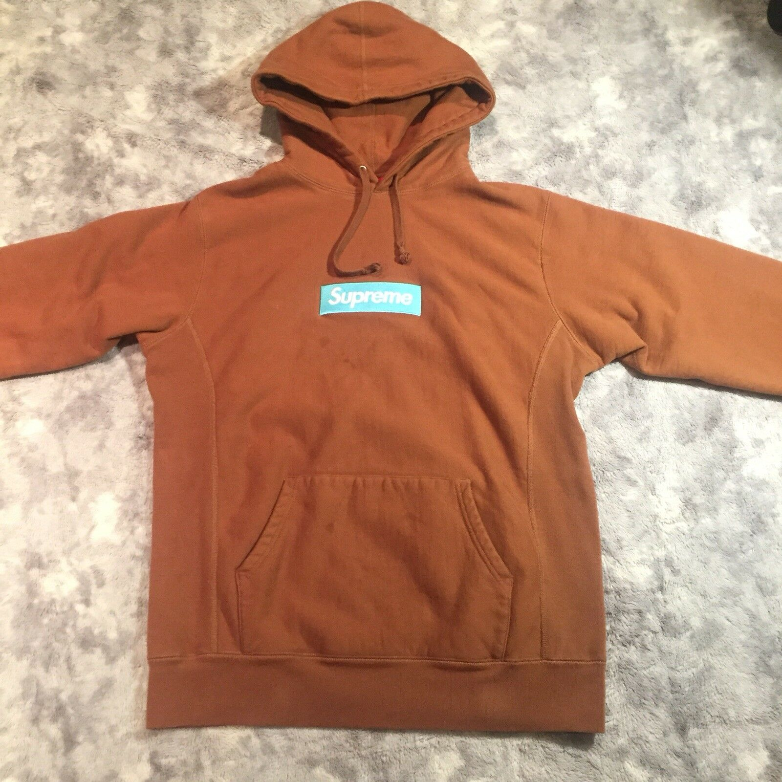 Authentic Supreme FW17 Box Logo Hoodie Sweatshirt Rust Brown Ice bluee XL Bogo