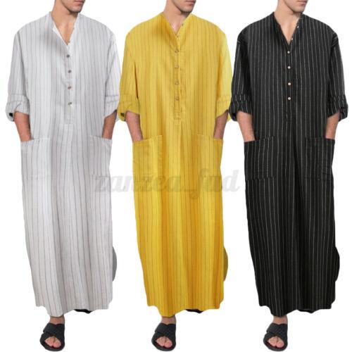 Mens Muslim Clothing Arab Caftan Long Sleeve Islamic Thobe Kaftan Loungwear Top