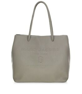 af665bd7a $295 Marc Jacobs East West Leather Logo Shopper Tote Bag in Stone ...