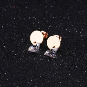 Cute-Smooth-Round-CZ-Rose-Gold-GP-Surgical-Stainless-Steel-Stud-Earrings-Gift