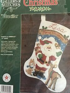 Bucilla Christmas Felt Stocking Kit Santa And Animals Never Used