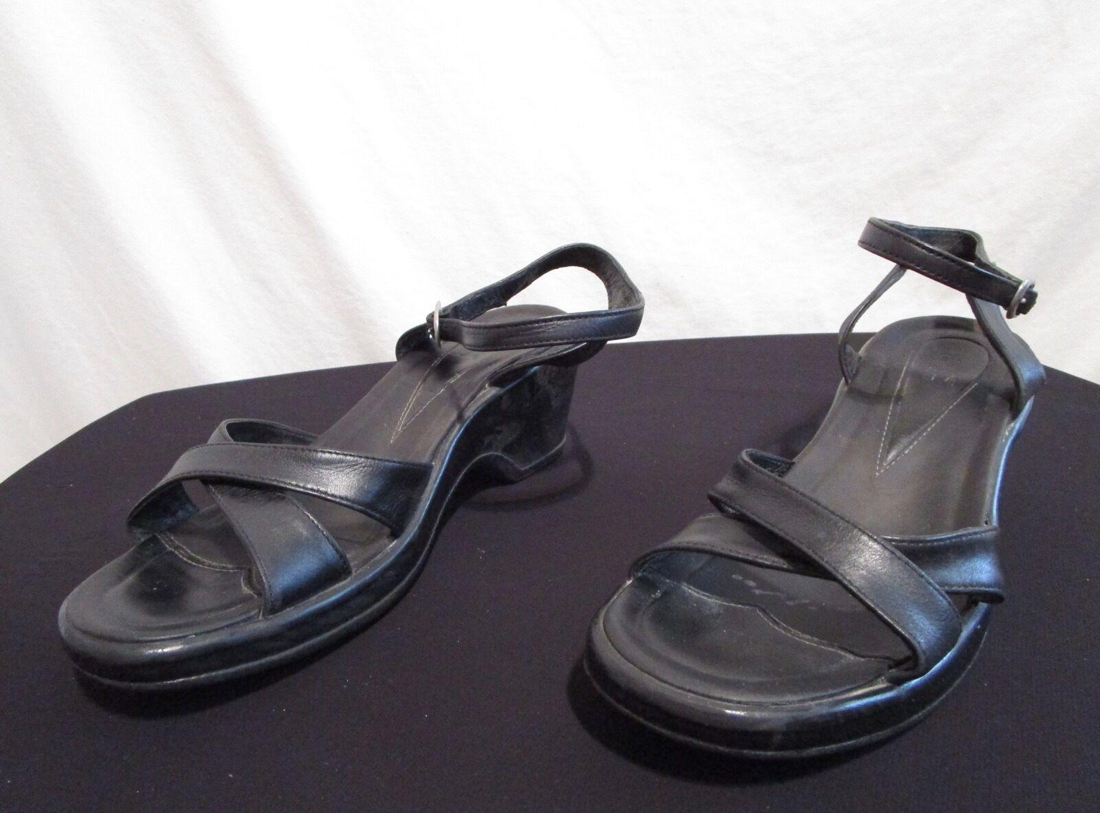 Dansko Women Ankle Black Leather Open Toe Ankle Women Strap Heel Sandal 8-8.5/39 445bfb