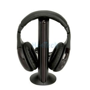 New-5-in-1-Wireless-Headphone-Earphone-Black-for-MP3-MP4-PC-TV-CD-FM-Radio