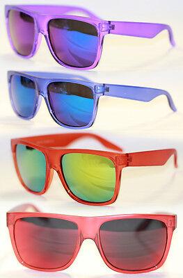 Retro Sonnenbrille matt transparent rot blau grau verspiegelt 536