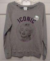 Woman Sweatshirt Gray Marilyn Monroe Reversible Iconic Patterns Signatures M