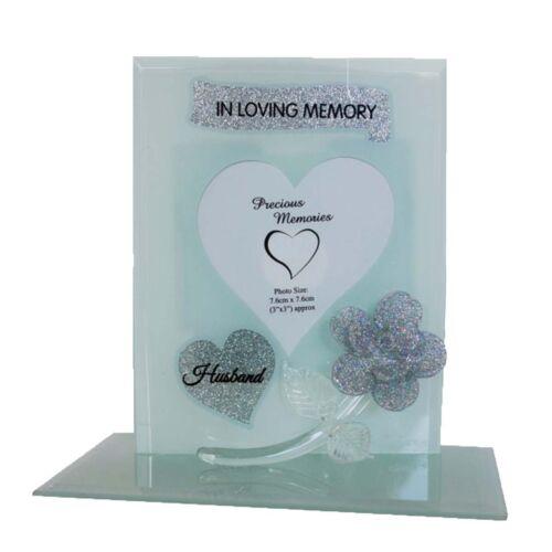 Verre Cadre Avec Fleur Paillettes Titulaire Coeur Jardin Commémoratif grave verset plaques