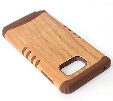 For Samsung Galaxy Note 5 - HARD & SOFT RUBBER HYBRID CASE BROWN WOOD KICKSTAND