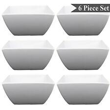 """Square White Melamine 6"""" Soup Salad Pasta Dessert Bowls Set of 6 by bogo Brands"""