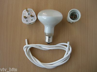 CERAMIC ES SCREW HEAT BULB lamp light LAMP HOLDER kit + 100w reflector spot bulb